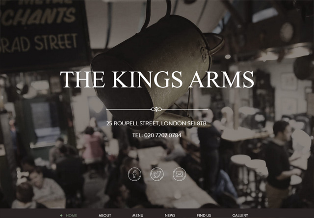 Image of a restaurant website: The Kings Arms