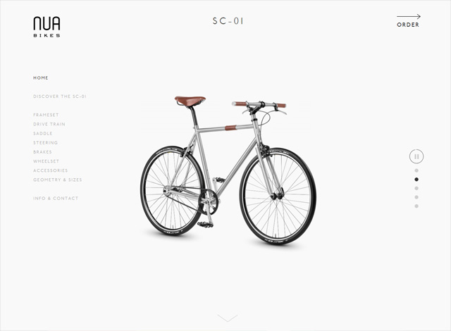 One-page website: Nua Bikes