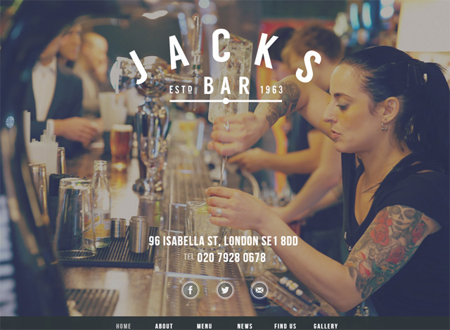 One-page website: Jacks Bar