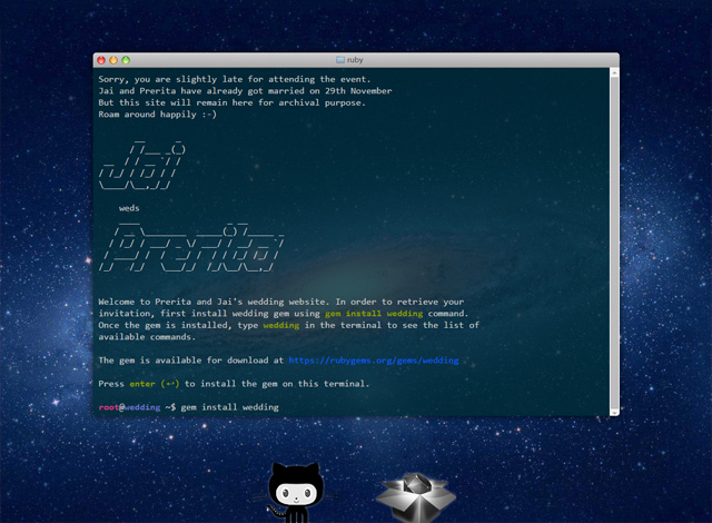 One-page website: Terminal Wedding