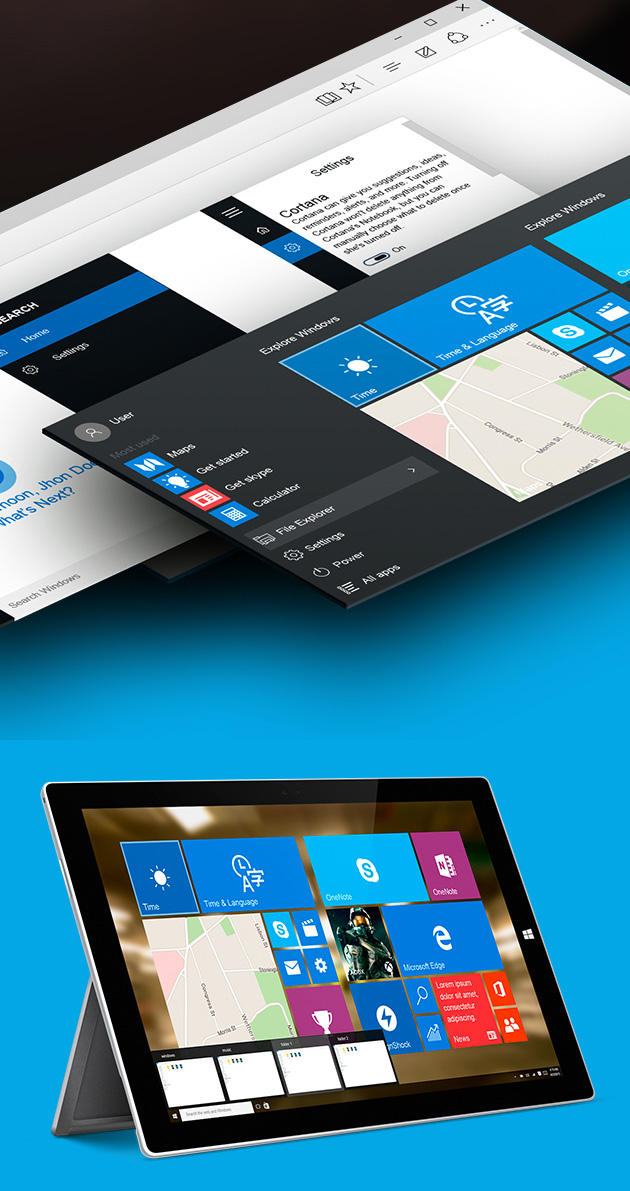 Windows 10 GUI for Mobile and Desktop