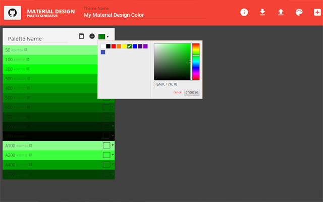 Material Design Palette Generator