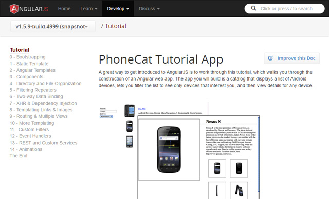 AngularJS PhoneCat Tutorial App