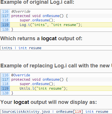 Android Get Calling Method and Line Number - testFunction()