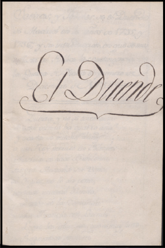 Portada de una copia manuscrita de El Duende que aún se conserva
