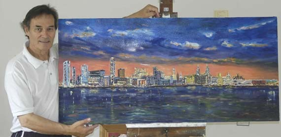 art classes merseyside, liverpool waterfront at night painting