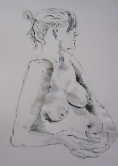 life drawing class, beginners, mereyside, southport. painting of nude model done in the life class at lydiate, merseyside