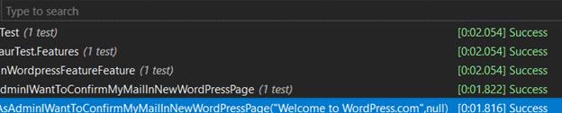 specflow automatyzacja testowanie maila - wynik testu