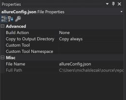 testingplus.me - właściwości dla allure.config.json