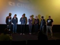 Genrenale-Betreiber Krystof Zlatnik (l.) und Paul Andexel (r.) mit Regisseuren der Kurzfilme