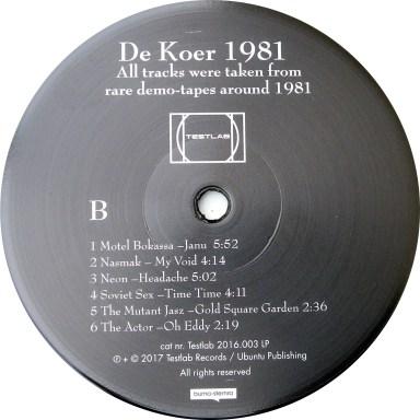 de Koer 1981 LP label B