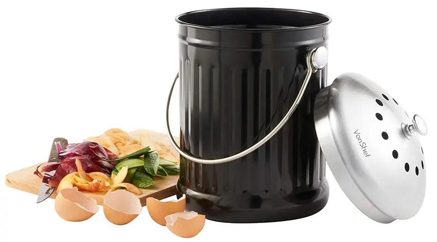 Test et Avis - VonShef Poubelle de Table à Compost 4,5L