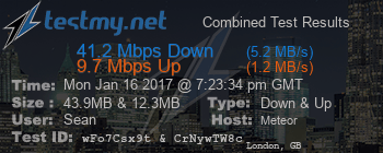 TestMy Meteor speed test - 1.2Mbps down, 9.7Mbps up