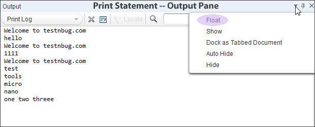 Print log options in UFT QTP