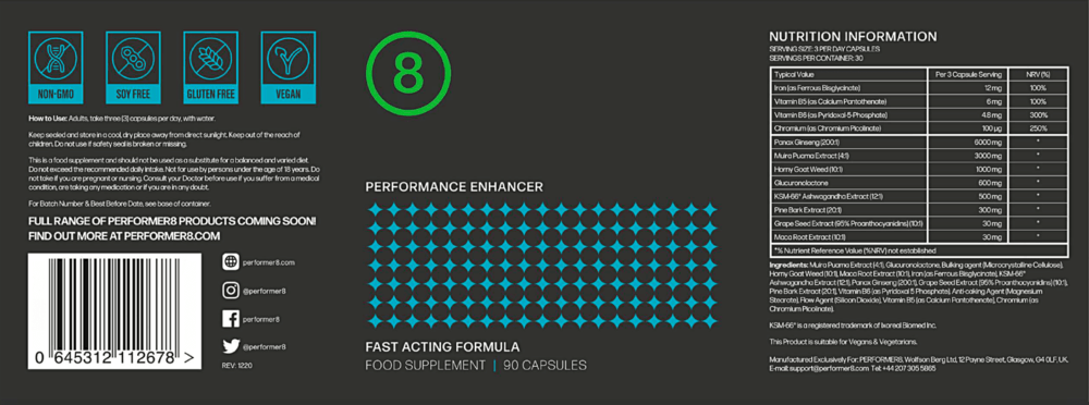 Performer 8 Supplement Facts and Label