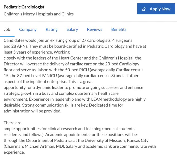 pediatric cardiologist job opening