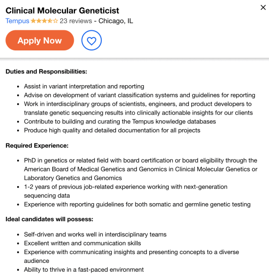 clinical geneticist job opening example