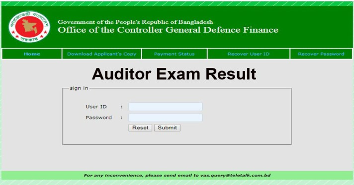 CGDF Auditor Exam Result 2019