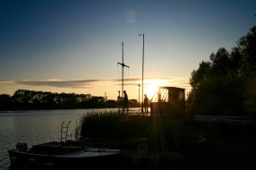 Sunset behind race hut