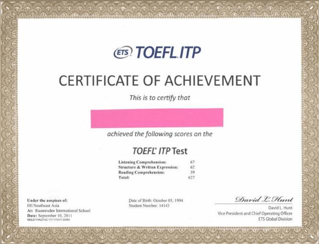 Letak Nomor Sertifikat Toefl Scholars Official