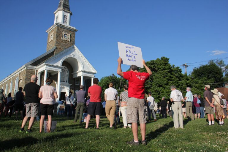 About 200 people gather on the lawn of the Oxford Presbyterian Church in Northwest Philadelphia for an interfaith vigil to remember George Floyd and others killed by police. (Emma Lee/WHYY)