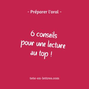 oral de français conseils de lecture