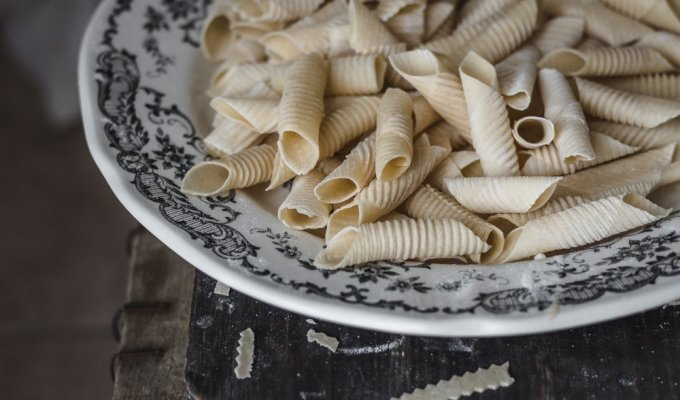 Homemade fresh garganelli pasta