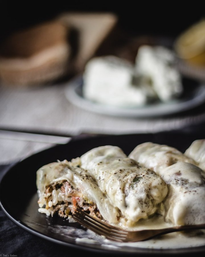 Greek cabbage rolls with egg lemon sauce