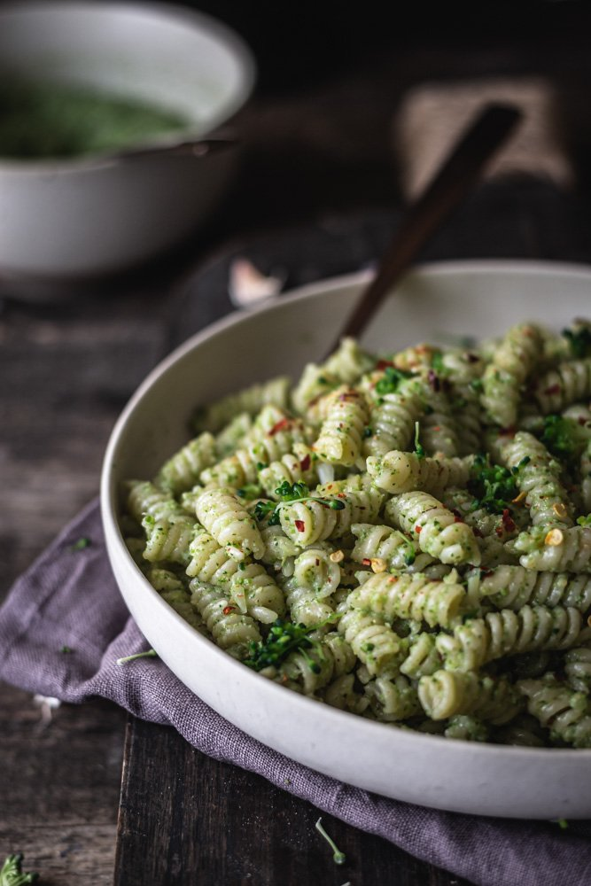 Broccoli pesto with pepper flakes and almonds