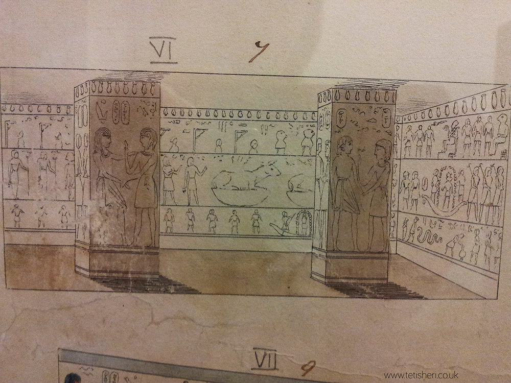Small reproduction of one of the pillared halls, mostly just black outlines due to the small size of the image (a couple of inches across)