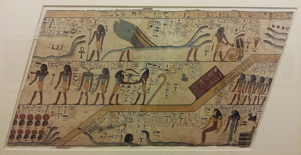 Depictions of the underworld with demons and gods and hieroglyphs