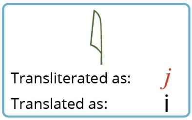 Shows the yod glyph as well as the transliteration (j) and translation (i)