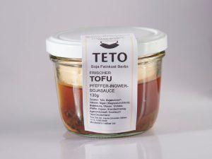 Tofu Pfeffer Ingwer Sojasauce im Glas