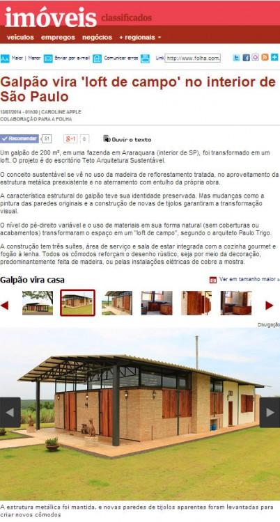 Folha de São Paulo   Imóveis   Classificados   Casas Incríveis   13 de Julho de 2014