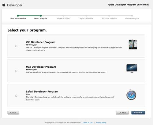 Apple Developer Program Enrollment  Select Program