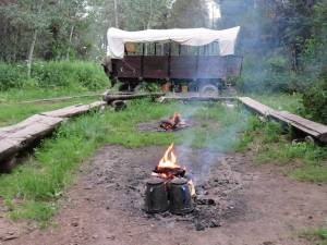 Coffee, hot chocolate and songs and stories around the campfire complete your wagon train vacation.