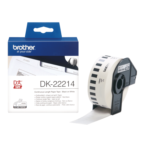 Brother DK-22214 Black on White tape