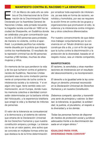 MANIFIESTO CONTRA EL RACISMO