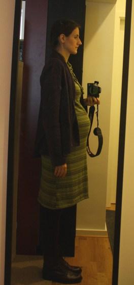 schwangerschaftskleidung_grünes Kleid mit lila Jacke_seit