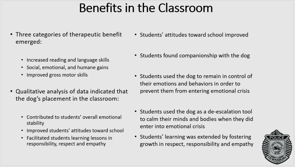 Benefits of comfort dogs in classrooms include better reading skills and an improved attitude toward school.