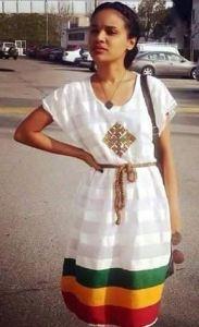 Ethiopian actress Selam Tesfaye wearing a beautiful traditional dress
