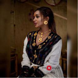 Fryat Yemane in a traditional Ethiopian dress