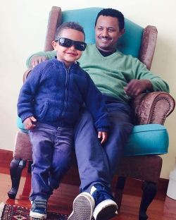 Teddy Afro with son Mikael