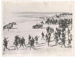 Somalian and Libyan soldiers (colonized by Italy) advancing against Ethiopia during the Second I ...