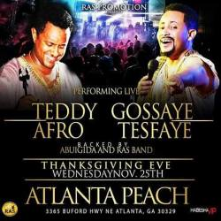 Teddy Afro and Gossaye Tesfaye will perform live in Atlanta, Nov. 25, 2015