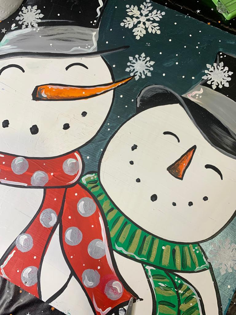 Painting of 2 snowmen side by side