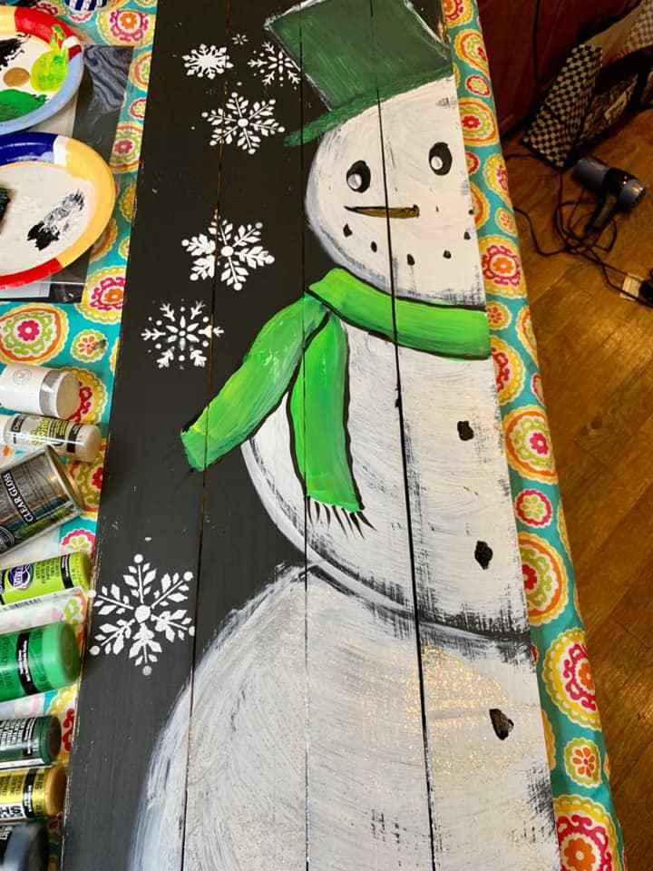 For my snowman porch leaner, I used white acrylic paint with my Essential Stencils for the snowflakes.