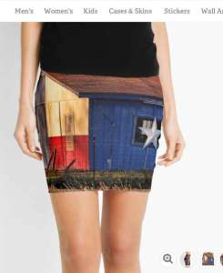 Sunset Flag Barn Pencil Skirt
