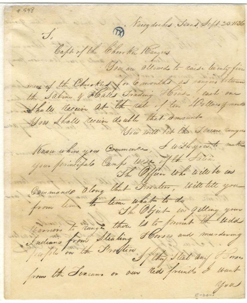 Cherokee Texas Rangers Sam Houston actual letter._Page_1
