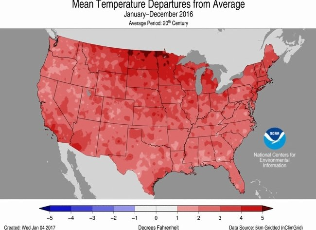TCN   2016 in Texas  3rd warmest year  a slew of weather and climate     NOAA reported that there were 15 weather and climate disasters with losses  of at least  1 billion  making 2016 the year with the second highest number  of